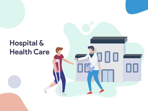 Krankenhaus und gesundheitswesen illustration Premium Vektoren