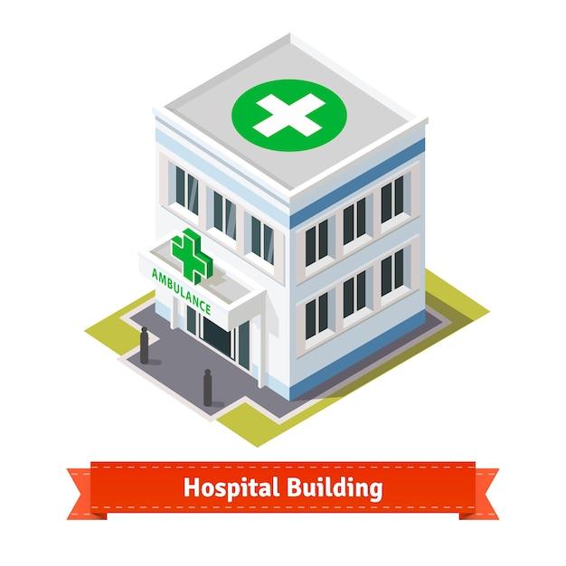 Krankenhaus und krankenwagen gebäude Kostenlosen Vektoren