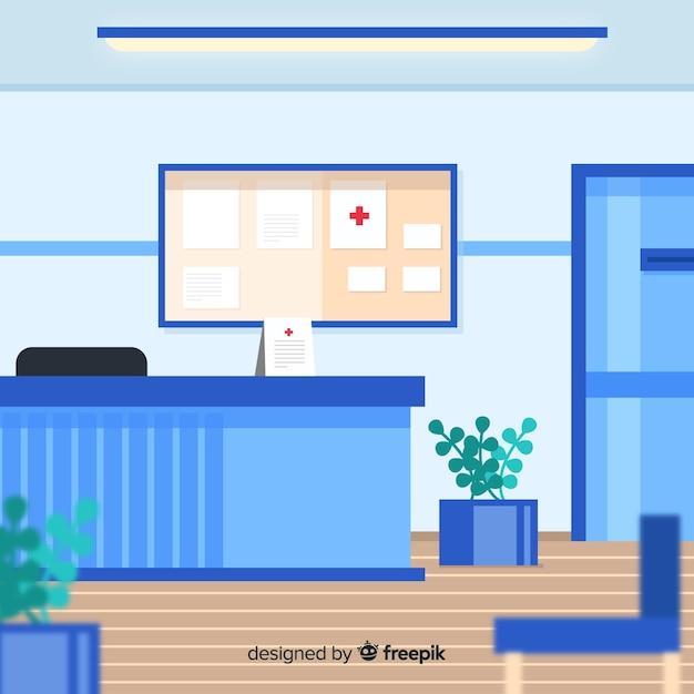 Krankenhausempfang mit flacher bauform Kostenlosen Vektoren