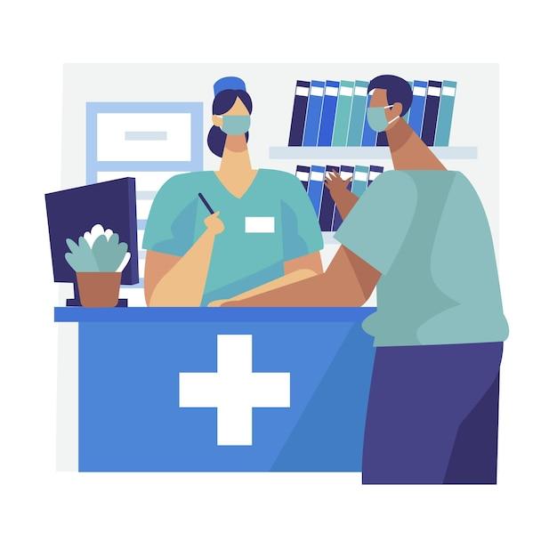 Krankenhausempfangsszene mit personen, die gesichtsmasken tragen Kostenlosen Vektoren