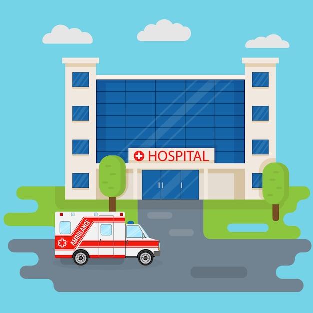 Krankenhausgebäude und krankenwagen im flachen stil. medizinisches konzept. medizin klinik front design Premium Vektoren