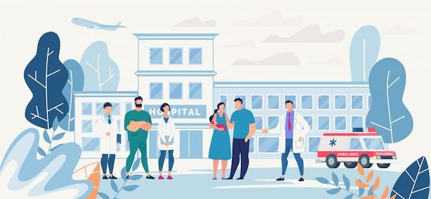 Krankenhaushof mit junger familie und medizinischem personal Premium Vektoren