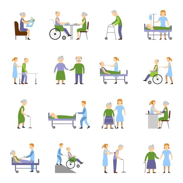 Krankenpflege ältere menschen icons set Kostenlosen Vektoren