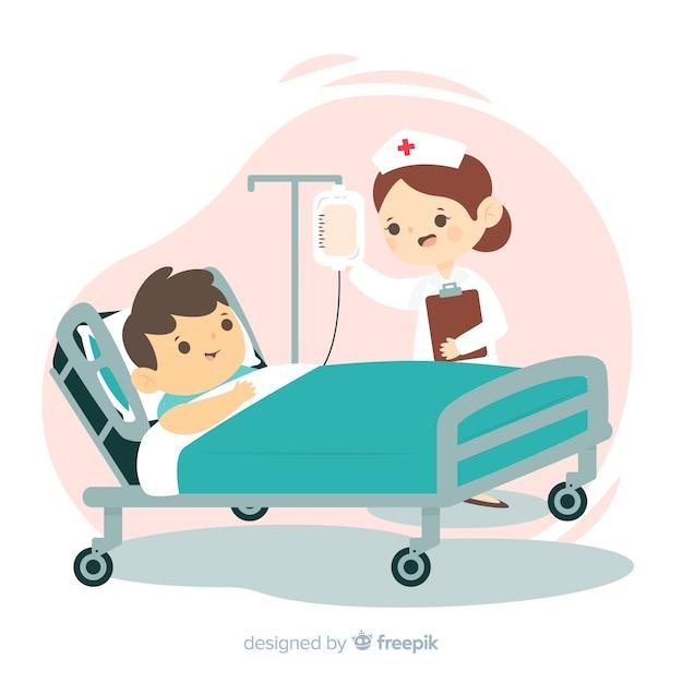 Krankenschwester, die geduldigen hintergrund hilft Kostenlosen Vektoren