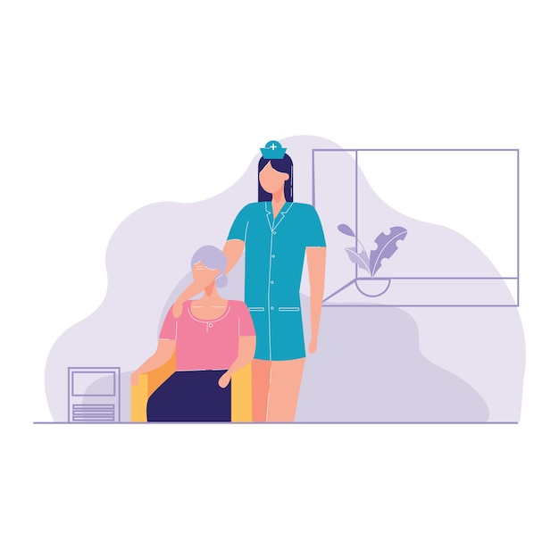 Krankenschwester, die kranke ältere patienten-hauptvektorillustration sich kümmert Premium Vektoren