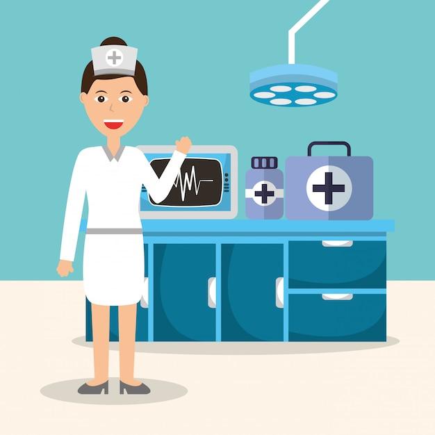 Krankenschwester, die maschinenapotheke überwacht Premium Vektoren