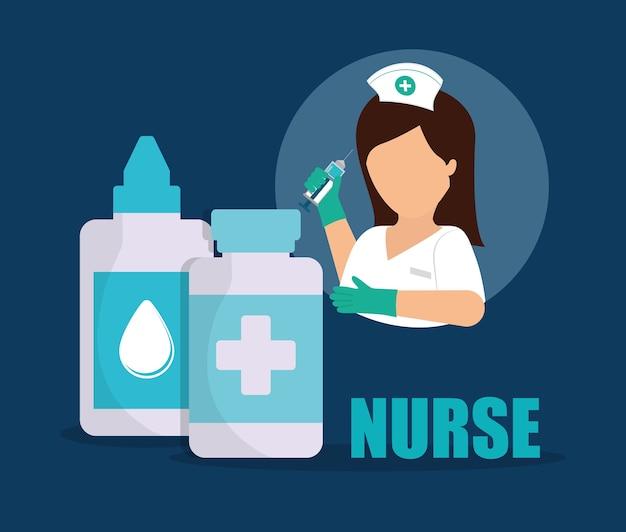 Krankenschwester medizinische augentropfen medizin flasche Premium Vektoren