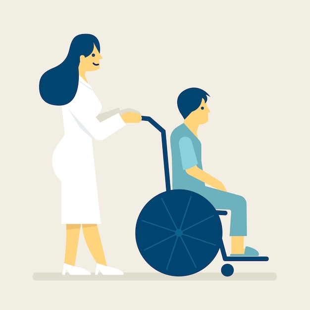 Krankenschwester und ein patient auf rollstuhlillustration. Premium Vektoren