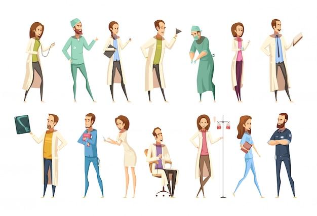 Krankenschwestercharaktere stellten in karikaturretrostil mit männern und frauen in den verschiedenen tätigkeiten ein Kostenlosen Vektoren