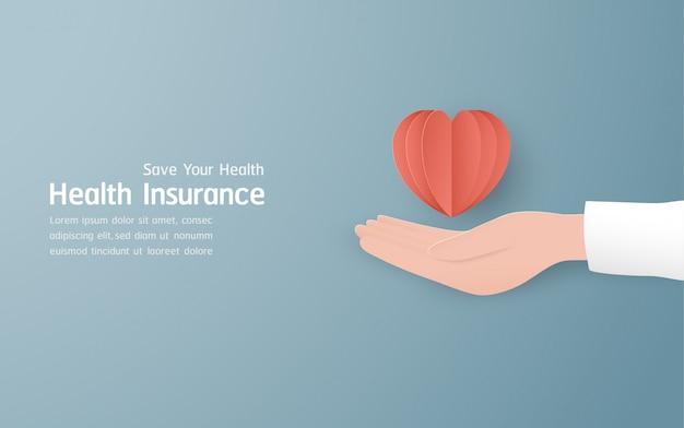 Krankenversicherung banner auf pastellblau Premium Vektoren