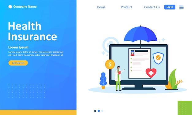 Krankenversicherung für web-landing-page Premium Vektoren