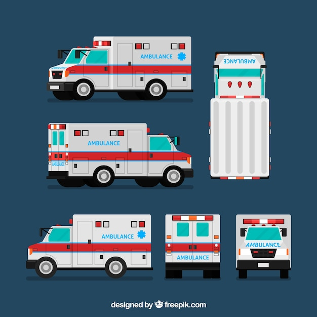 Krankenwagen aus verschiedenen blickwinkeln Kostenlosen Vektoren