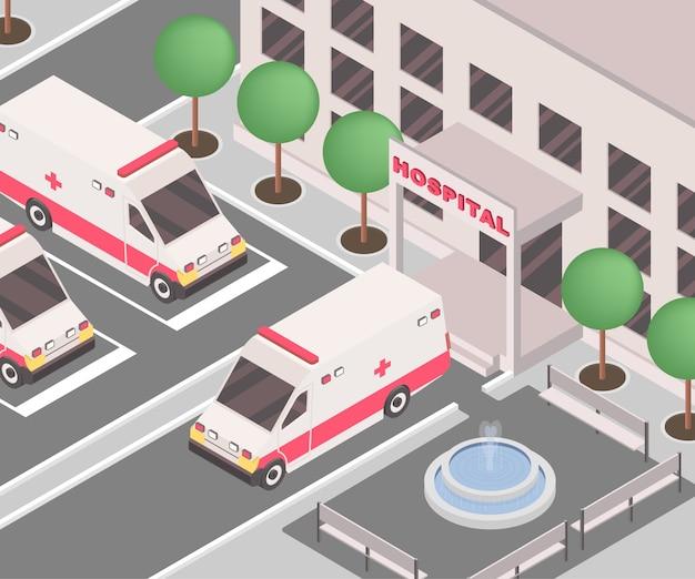 Krankenwagen geparkt außerhalb des klinikgebäudes Premium Vektoren