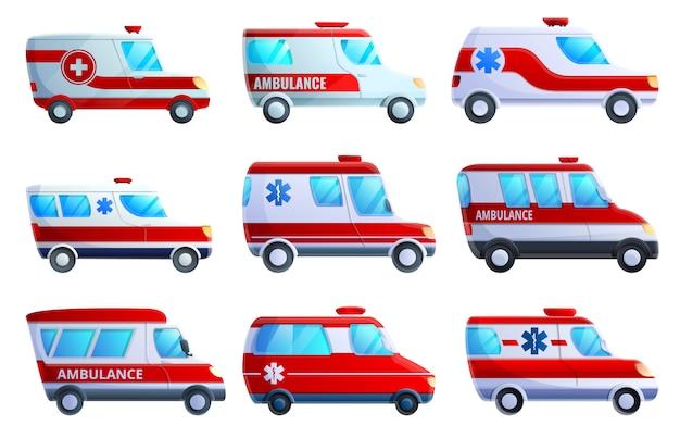 Krankenwagen-icon-set, cartoon-stil Premium Vektoren