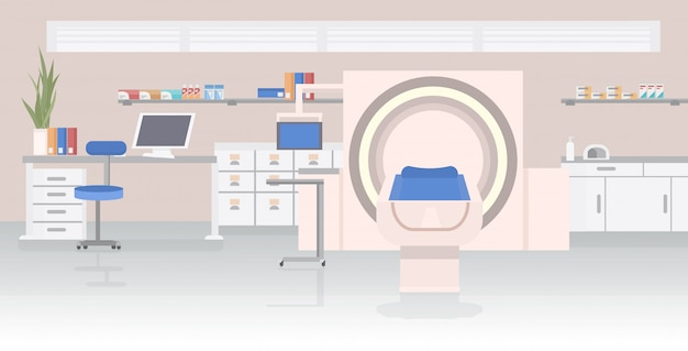 Krankenzimmer mit mrt-magnetresonanztomographie-scan-gerät medizinisches gesundheitskonzept Premium Vektoren