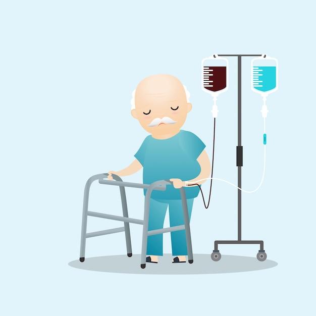 Kranker alter mann, der mit intravenöser tropfenzählerlinie steht Premium Vektoren