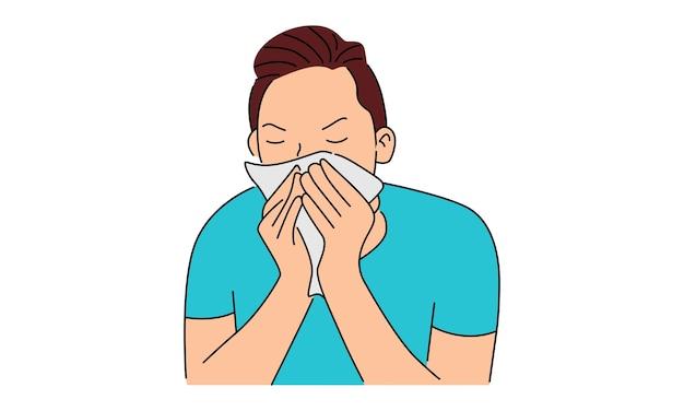Kranker junger mann, der in taschentuch niest Premium Vektoren