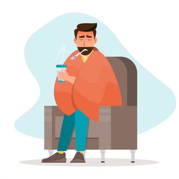 Kranker mann, der eine erkältung hat, sitzen im raum Premium Vektoren