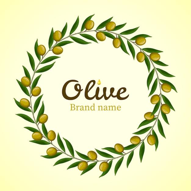 Kranz aus grünen olivenzweigen. Premium Vektoren
