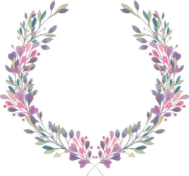 Kranz aus lila, rosa und grünen zweigen des aquarells Premium Vektoren