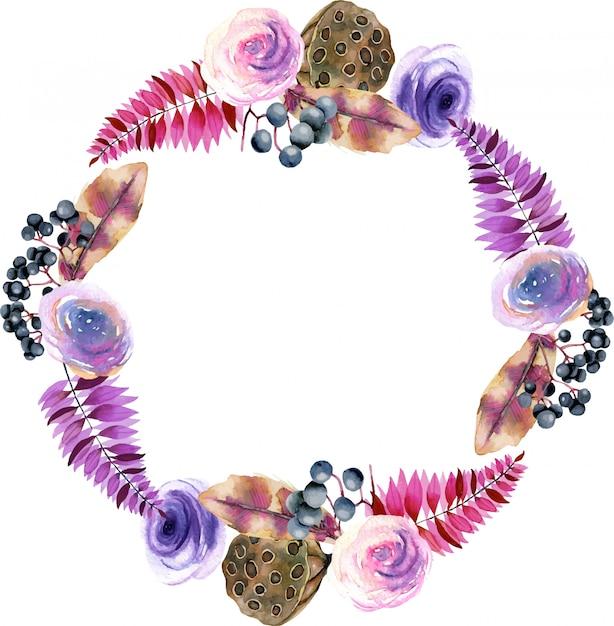 Kranz mit aquarellblumen und lotosboxen Premium Vektoren