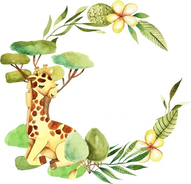 Kranz mit niedlicher giraffe des aquarells Premium Vektoren