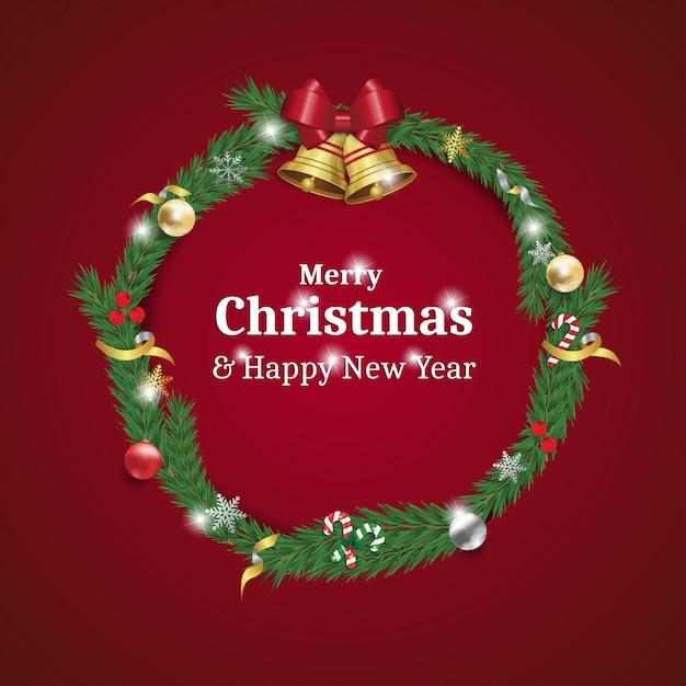 Kranzkarte der frohen weihnachten und des guten rutsch ins neue jahr Premium Vektoren
