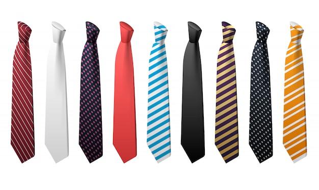 Krawatten-icon-set. isometrischer satz bindungsvektorikonen Premium Vektoren