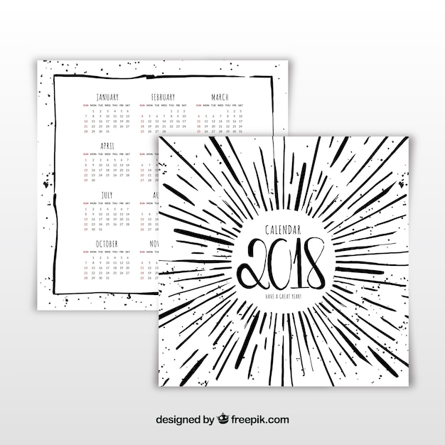 Kreativ 2018 kalender Kostenlosen Vektoren
