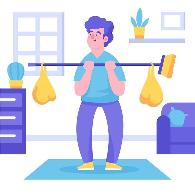 Kreativ sein bei körperlichen übungen Kostenlosen Vektoren