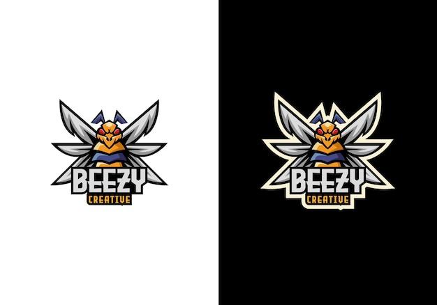 Kreative bee buzz sport maskottchen charakter logo design Premium Vektoren