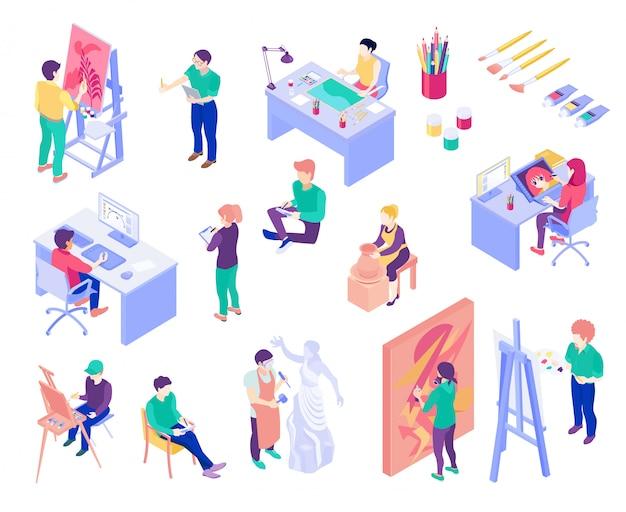 Kreative berufe isometrische menschen festgelegt Kostenlosen Vektoren