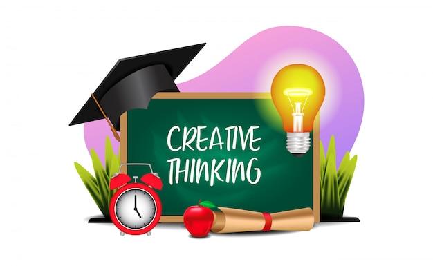 Kreative bildung, die mit illustration der tafel, licht, staffelungssicherung denkt Premium Vektoren