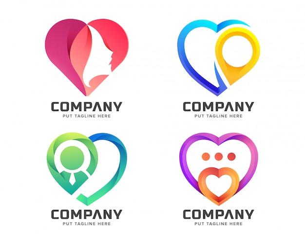 Kreative bunte liebeslogosammlung Premium Vektoren