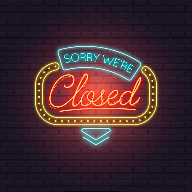 Kreative bunte neon entschuldigung, wir sind geschlossenes zeichen Premium Vektoren