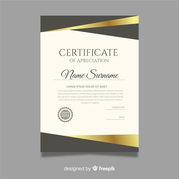 Kreative diplomschablone mit goldenen elementen Kostenlosen Vektoren