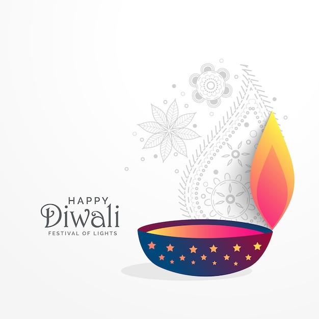 kreative diwali festival gruß hintergrund mit diya Kostenlose Vektoren