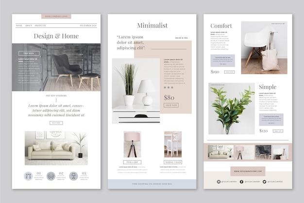 Kreative e-commerce-e-mail mit fotos Premium Vektoren