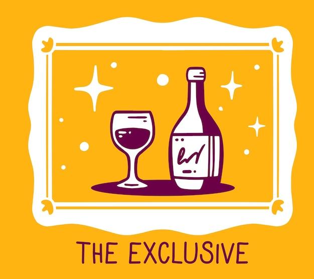 Kreative einfache illustration des weißen rahmens mit einer flasche des alkoholischen getränks und des glases auf orangefarbenem hintergrund. Premium Vektoren