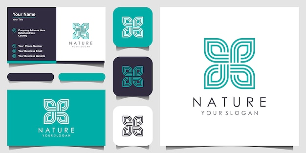 Kreative elegante blumenrose mit blattelementlogodesign und visitenkarte. logo für schönheit, kosmetik, yoga und spa. Premium Vektoren