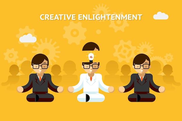 Kreative erleuchtung. kreatives ideenkonzept des geschäftsgurus. führung und fachwissen, emotional. vektorillustration Kostenlosen Vektoren