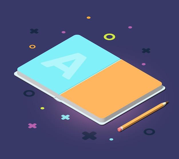 Kreative farbillustration des isometrischen eröffnungsbuchs mit bleistift und dekorativen elementen Premium Vektoren