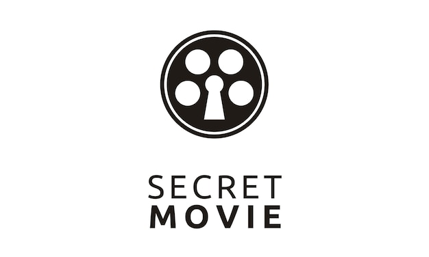 Kreative filmrolle mit keyhole-logo-design Premium Vektoren