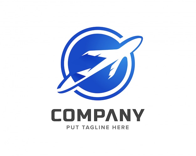 Kreative flugzeug-logo-vorlage Premium Vektoren