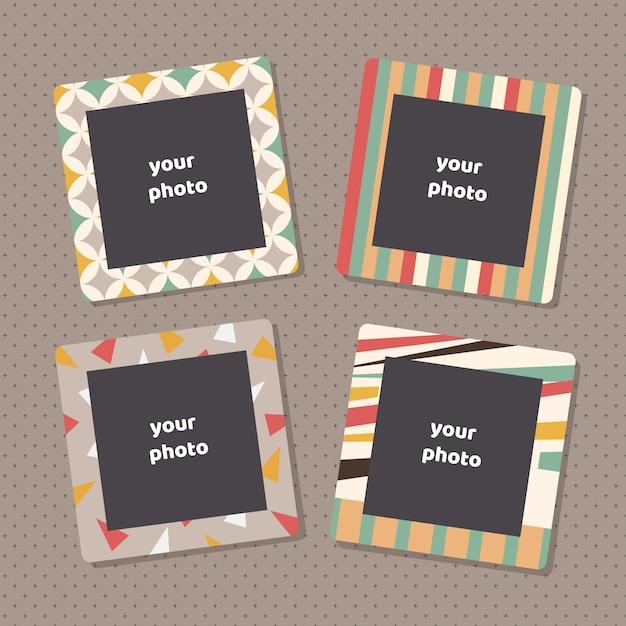 Kreative fotorahmen mit kunstbeschaffenheit. dekorative bilderrahmenleisten für familienporträts Premium Vektoren