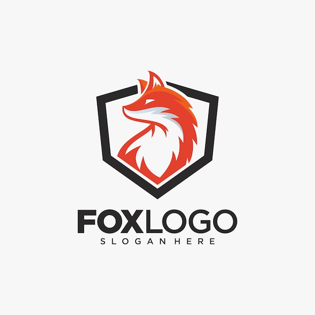 Kreative fox animal modern simple design illustration Premium Vektoren
