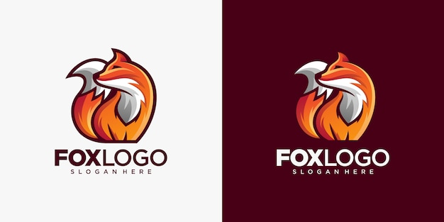 Kreative fox animal modern simple design illustration Premium Vektoren