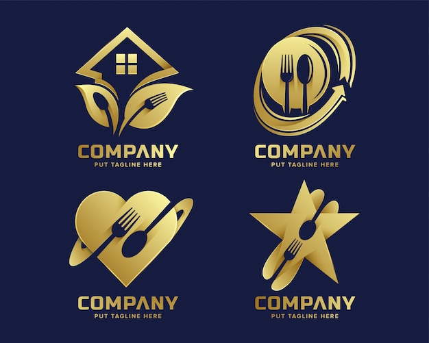 Kreative gabel logo vorlage mit goldener farbe Premium Vektoren