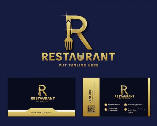 Kreative gabel mit buchstabe r logo vorlage für restaurant-unternehmen Premium Vektoren
