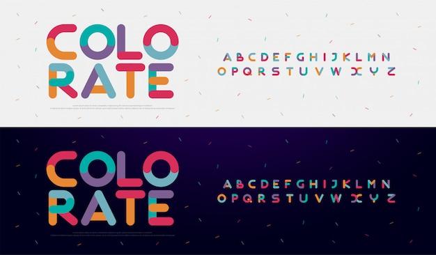 Kreative gerundete alphabetfarbschrifttypen des modernen gusses Premium Vektoren
